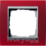 Cover frame, 1-gang frame  Colour Aluminium Gira Event Opaque red