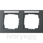 Cover frame, 2-gang inscription space, horizontal Gira E2 Anthracite