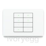 20venti series, 8-fold KNX pushbutton, rectangular, white plate and rockers with engraving