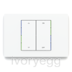 KNX Pushbutton 71 series, blue/green LED, white plate and 2 vertical white rockers with engraving