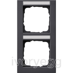 Cover frame, 2-gang inscription space, vertical Gira E2 Anthracite