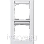 Cover frame, 2-gang inscription space, vertical Gira E2 pure white
