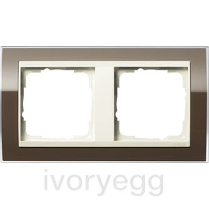 Cover frame, 2-gang for cream white Gira Event Clear Brown