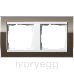 Cover frame, 2-gang for pure white Gira Event Clear Brown