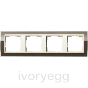 Cover frame, 4-gang for cream white Gira Event Clear Brown