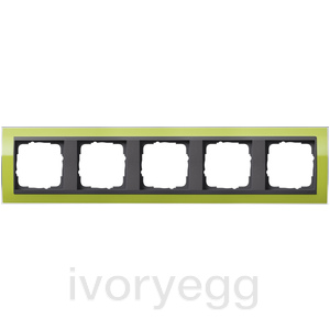 Cover frame, 5-gang for anthracite Gira Event Clear green