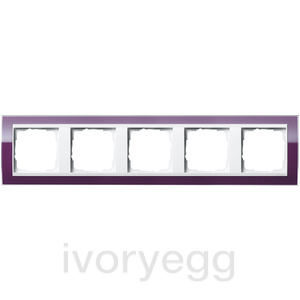 Cover frame, 5-gang for pure white Gira Event Clear aubergine