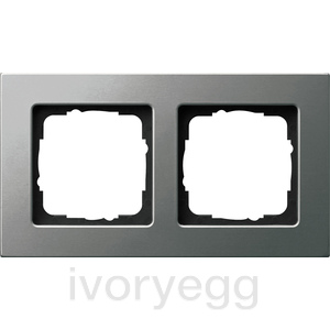 DISCONTINUED Cover frame 2-gang flat mounting Gira E22 Stainless Steel