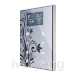 Capacitive touch panel with 8 buttons and display with thermostat. Aluminium frame (ONE model)