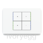 KNX Pushbutton 71 series, blue/green LED, white plate and 4 square white rockers with engraving