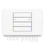 KNX Pushbutton 71 series, blue/green LED, white plate and 4 horizontal white rockers with engraving