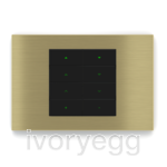 20venti series, 8-fold KNX pushbutton, rectangular, brass plate and white rockers with engraving