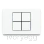 KNX Pushbutton 71 series, blue/green LED, white plate and 4 square white rockers