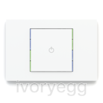 KNX Pushbutton 71 series, blue/green LED, white plate and single white rocker with engraving